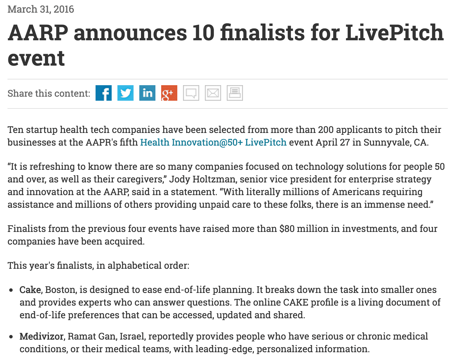 Ten startup health tech companies have been selected from more than 200 applicants to pitch their businesses at the AAPR's fifth Health Innovation@50+ LivePitch event April 27 in Sunnyvale, CA.
