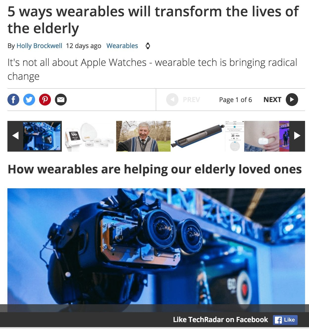 TechRadar Features the UnaliWear Kanega Watch:  5 ways wearables will transform the lives