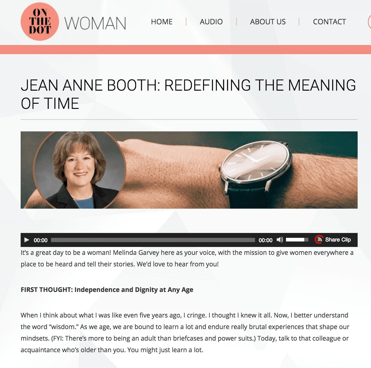 JEAN ANNE BOOTH: REDEFINING THE MEANING OF TIME
