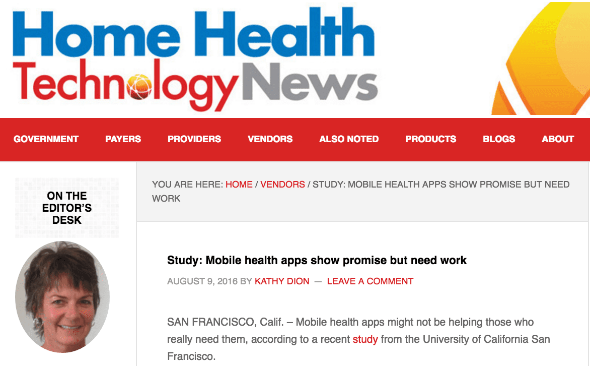 Jean Anne Booth Featured in Home Health Technology News - Study: Mobile health apps show promise but need work
