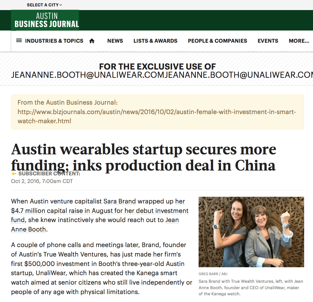 UnaliWear: Austin wearables startup secures more funding; inks production deal in China